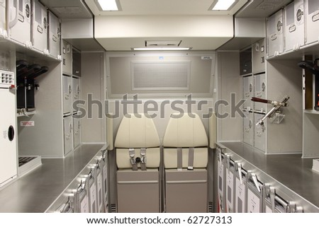 ISTANBUL, TURKEY - OCTOBER 3: Turkish Airlines Airbus A330 airplane kitchen on 8th international civil aviation and airports exhibition on Oct 3, 2010 in Istanbul, Turkey - stock photo