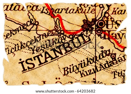 Istanbul, Turkey on an old torn map from 1949, isolated. Part of the old map series. - stock photo