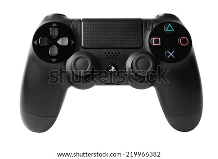 ISTANBUL-TURKEY 27-SEP-2014 DualShock 4 Wireless Controller for PlayStation 4 - stock photo