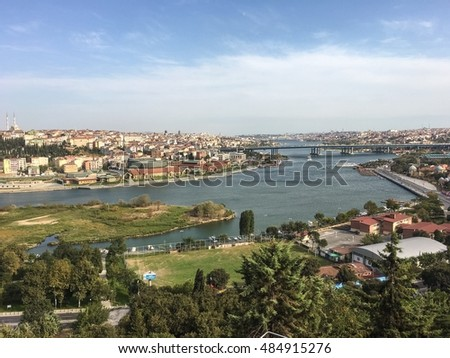 ISTANBUL, TURKEY, SEP 10, 2016: Panoramic view of Golden Horn from Eyup Pierre Loti cafe in Istanbul.Pierre Loti was a French naval officer and novelist, known for his exotic novels in Turkey.