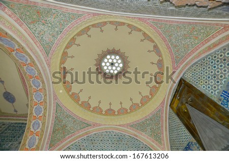 ISTANBUL TURKEY SEPT 29: Beautiful decoration inside Topkapi palace on sept. 29 2013 in Istanbul Turkey. The Topkap? Palace was the primary residence of the Ottoman Sultans