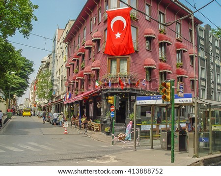 Istanbul, Turkey - Sept 3, 2011: Building with flag of Turk at a street in Istambul, Turkey. - stock photo