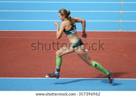 ISTANBUL, TURKEY - SEPTEMBER 19, 2015: Athlete Jana Novotna long jump during European Champion Clubs Cup Track and Field Juniors Group A