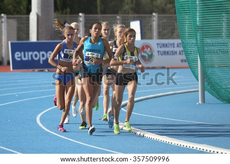 ISTANBUL, TURKEY - SEPTEMBER 19, 2015: Athletes running 1500 metres during European Champion Clubs Cup Track and Field Juniors Group A