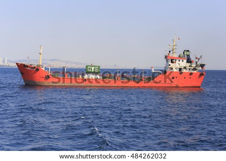 Istanbul, Turkey - September 15, 2016: Big size commercial ship view from Istanbul Bosphorus with blue sky