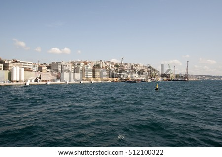 Istanbul, Turkey - September 9., 2016: Cityscape of Istanbul from Bosphorus river