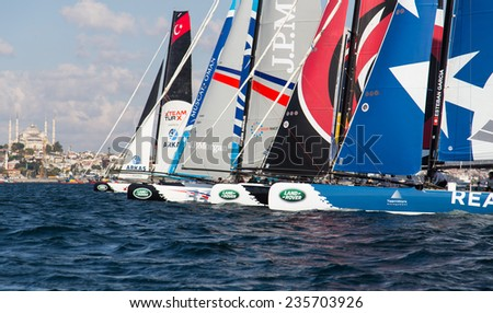 ISTANBUL, TURKEY - SEPTEMBER 13, 2014: Extreme 40 Sailboats compete in Extreme Sailing Series.
