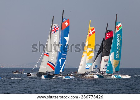 ISTANBUL, TURKEY - SEPTEMBER 14, 2014: Extreme 40 Sailboats compete in Extreme Sailing Series. - stock photo