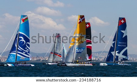 ISTANBUL, TURKEY - SEPTEMBER 13, 2014: Extreme 40 Sailboats competes in Extreme Sailing Series.
