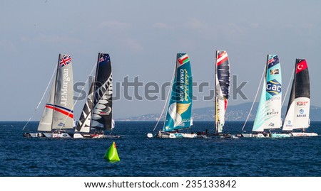 ISTANBUL, TURKEY - SEPTEMBER 13, 2014: Extreme 40 Sailboats competes in Extreme Sailing Series. - stock photo