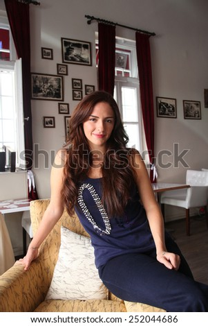 ISTANBUL, TURKEY - SEPTEMBER 28: Famous Turkish actress and television series star Sinem Ozturk portrait on September 28, 2012 in Istanbul, Turkey. - stock photo