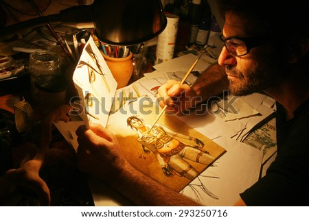ISTANBUL, TURKEY - SEPTEMBER 9: Famous Turkish cartoonist, comic novelist, graphic artist and magazine publishers Ergun Gunduz portrait on September 9, 2009 in Istanbul, Turkey.