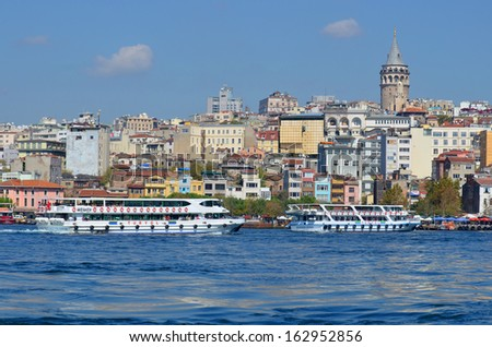 ISTANBUL TURKEY SEPTEMBER 29:Galata Karakoy quarter of Istanbul, Turkey and historic architecture and medieval Galata tower.On september 29 2013 in Istanbul Turkey