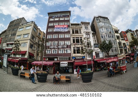 ISTANBUL, TURKEY - September 11, 2016:Karakoy port in ?stanbul.Karakoy District the most popular destinations for entertainment and travel of Istanbul.