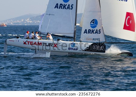 ISTANBUL, TURKEY - SEPTEMBER 13, 2014: Skipper Mitch Booth, TeamTurx competes in Extreme Sailing Series.