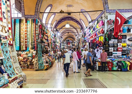 ISTANBUL, TURKEY - SEPTEMBER 08, 2014: The Grand Bazaar is one of the largest and oldest covered markets in the world on September 08, 2014 in Istanbul, Turkey.