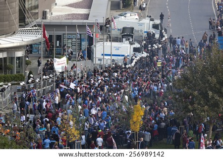 Istanbul, Turkey - SEPTEMBER 13, 2013: Trabzonspor supporters protest against Turkish Football Federation - stock photo