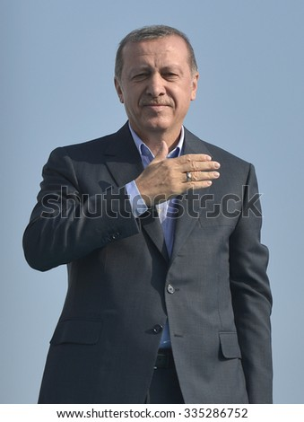 ISTANBUL, TURKEY, 20 SEPTEMBER 2015, Turkish President Recep Tayyip Erdogan speaks at peace rally held in Istanbul, - stock photo