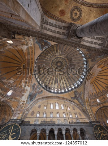 ISTANBUL, TURKEY - SEPTEMBER 02, 2011: View from the inner domes of Hagia Sophia on September 02, 2011 Istanbul, Turkey. Monument of architectural and historical significance for Turkey