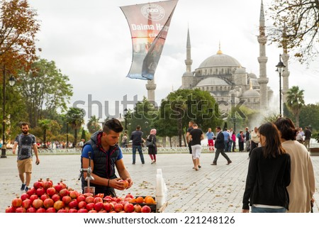 ISTANBUL, TURKEY - SEPTEMBER 23: View of Blue Mosque (The Sultan Ahmed Mosque) from Hagia Sophia museum on September 23, 2014 in Istanbul, Turkey - stock photo