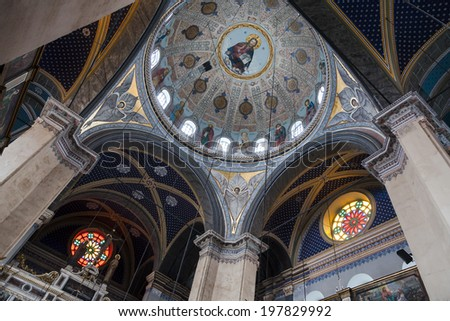 ISTANBUL, TURKEY - 11th of April 2014: Ceiling of the   Vokebecen Katolik Kilisesi Catolic church on 11th of April 2014 in ISTANBUL, TURKEY