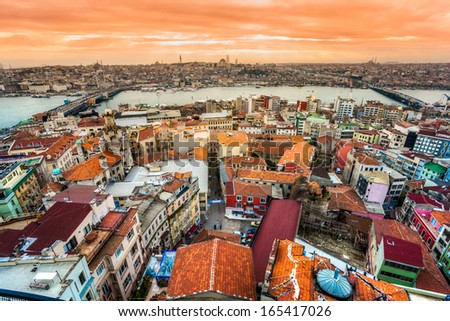 Istanbul view from Galata tower, Istanbul, Turkey. - stock photo