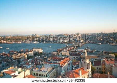 Istanbul - View to the old city from Galata Tower - stock photo