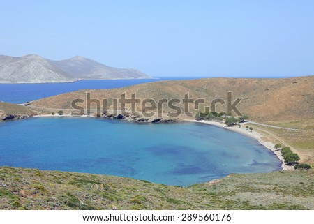 isthmus on the island of Astypalea - stock photo
