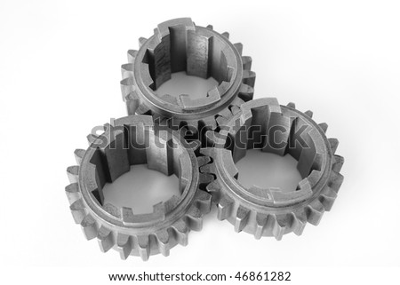 It depicts three gears on white background