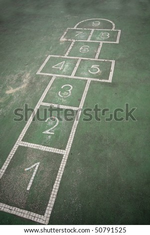 It is a hopscotch in yard for childern. - stock photo