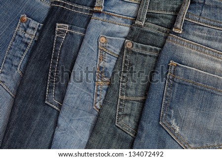 It is a pile of jeans. - stock photo