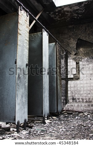 It is a toilet after fire. - stock photo