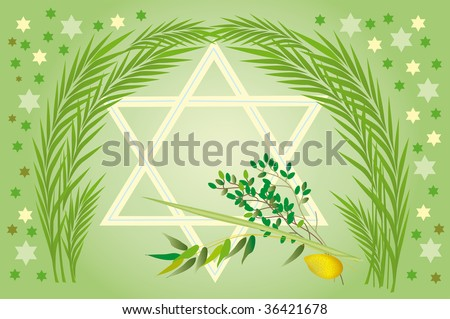 It is accepted to give all four types of plants, each of which symbolizes the certain type of people. Lulav and Etrog - stock photo