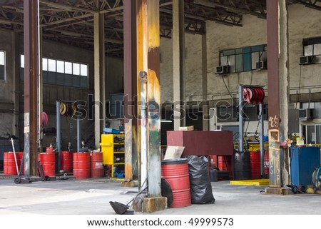 It is an old dirty gas stations - stock photo