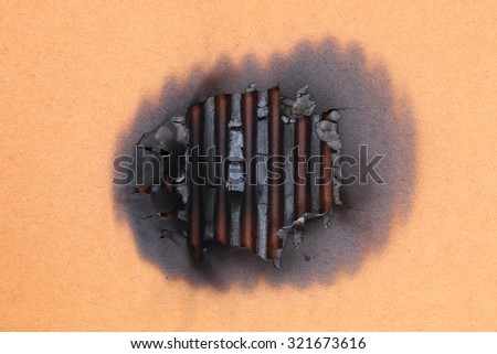 It is Black burn on paper for pattern. - stock photo