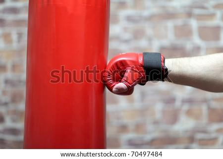 It is boxing training in brick underground - stock photo