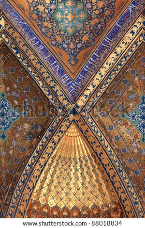 It is decorated wall of Aksaray mausoleum, Samarkand, Uzbekistan