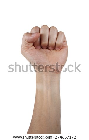 It is Fist isolated on white. - stock photo