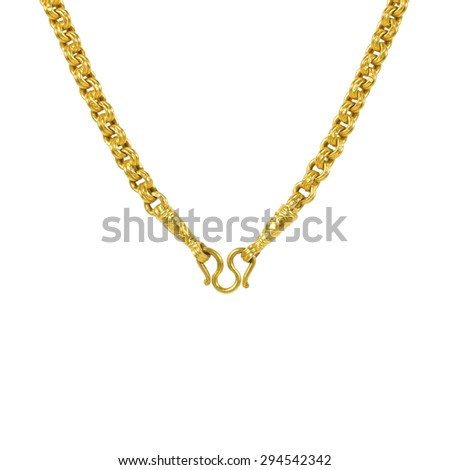 It is Gold necklace isolated on white.