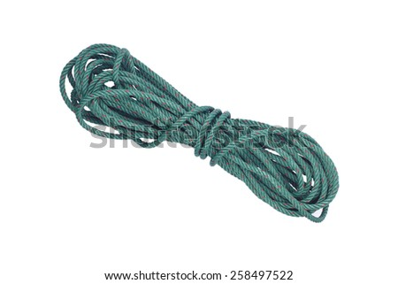 It is Green rope isolated on white. - stock photo