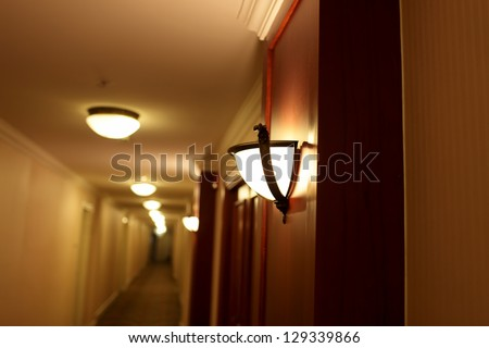 It is interior of hotel at night - stock photo