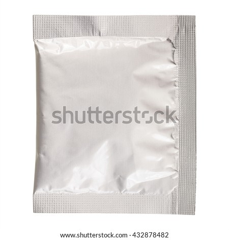 It is One foil bag isolated on white.