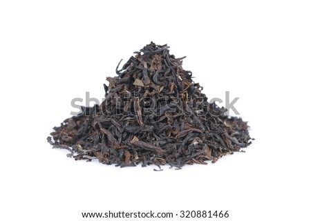It is Pile of black tea isolated on white. - stock photo