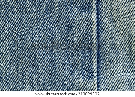 It is Seam on old Jeans for pattern. - stock photo