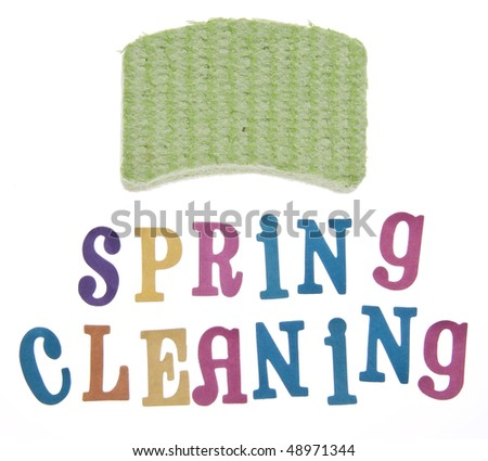 It is time to clean up for spring!  Spring cleaning themed image isolated on white with a clipping path.