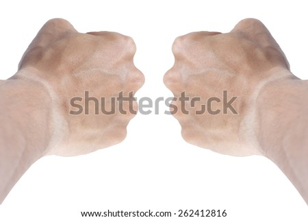 It is Two Fists and arms for pattern. - stock photo