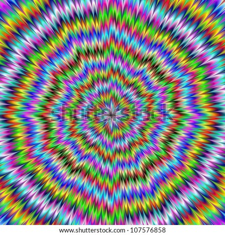 It Moves/Digital abstract image with an explosion of blue red yellow green and purple producing an optical illusion of movement.