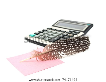 It notes and a calculator on a white background