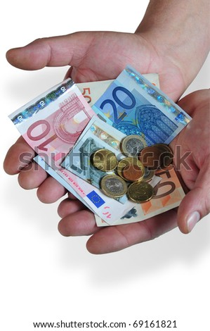 it photographs of two man hands teaching currencies and euro notes - stock photo
