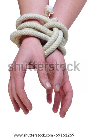 it photographs of two woman hands tied with a rope - stock photo